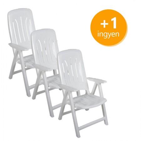 Műanyag napozó szék 3+1 ingyen - fehér