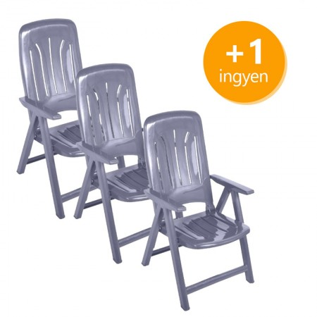 Műanyag napozó szék 3+1 ingyen - szürke