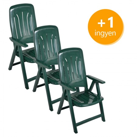 Műanyag napozó szék 3+1 ingyen - zöld
